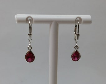 Long earrings with purple crystal drop KO112
