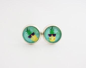 Cool Pineapple glass dome summer beach earrings