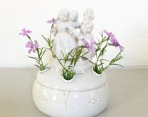 Sale, Flower Frog, Antique, Porcelain Vases, Shabby Chic, Victorian Garden, gifts for her