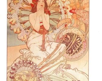 "Monaco-Monte-Carlo Art Nouveau print from Alphonse Mucha (11"" x 15"")"
