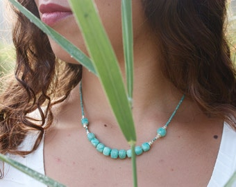 Amazonite + Turquoise Necklace with Thai Hill Tribe Silver