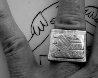 sterling silver ring, handmade, triangle, double square, contemporary calligraphic seal, artistic and