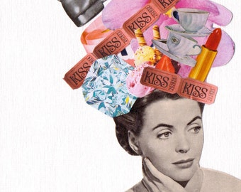 Original Collage - Mixed Media Pop Art - 60's 'Have it all'