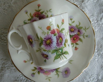 Hammersley & Co - Made in England Bone China - Vintage Tea Cup and Saucer - Lavender and Orange Daisies