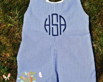 Boys-  Seersucker Shortall- Toddler Boys - Monogrammed Shortall- Baby Boys -Playsuit - Jon Jon - Bubble Suit- 3m, 6m, 12m, 18m, 2t, 3t, 4t