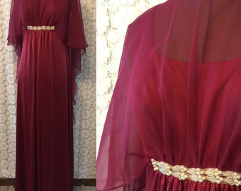 Burgundy empire waist 1960s dress with sheer overlay/shawl - pearl accents on neck and waist, gathered under bust, back zip - some stretch