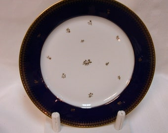 Sevres Cobalt Rim Plate Manufacture Nationale Dore a Sevres <red M> in a circle with green double-L Sevres above - France French