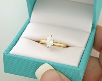 Half Carat Marquise Diamond Engagement Ring .48ct SI3, H - 14kt yellow gold - LAYAWAY - See item details for more info