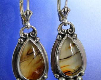 Tear Drop Montana Agate Gem Stone Earrings Sterling Silver Handcrafted