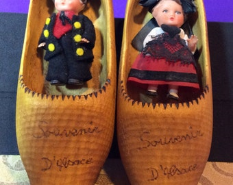 Vintage Souvenier Wooden Shoes With Boy And Girl Dolls From D'Alsace France
