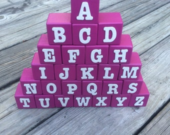 Alphabet Blocks, ABC Blocks, Wooden Letters, DIY Wooden Blocks, Unfinished Wooden Blocks, Wooden Toy, Baby Shower Activity, Barbie Blocks