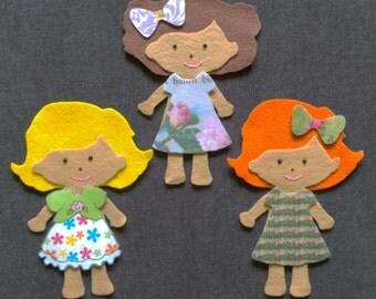 Girls Felt Doll Set // Preschool // On the Go Fun // Dress Up // School // Home // Imagination // Dress Up