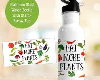 Stainless Steel Water Bottle - Eat More Plants - Great Gift for Vegan - BPA Free Eco Friendly Water Bottle