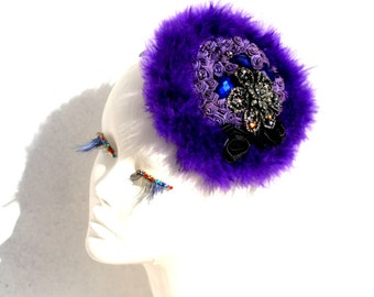 fascinator purple, Head Piece ,Purple Vamp