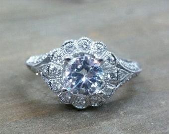 Stunning Beverly K 18kt white gold and diamond semi mount engagement ring