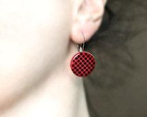 Red earrings, Red dangle earrings, Geometric earrings, Drop earrings, Dots earrings Cherry red jewelry Contemporary Minimalist earrings gift