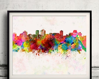 Christchurch skyline in watercolor background 8x10 in. to 12x16 in. Poster Digital Wall art Illustration Print Art Decorative - SKU 1312