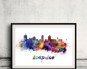 Acapulco skyline in watercolor over white background with name of city - Poster Wall art Illustration Print - SKU 1554