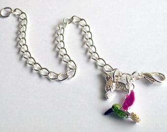Hummingbird Bracelet ~ Hummingbirds Charm Bracelet ~ Hummingbird Jewelry ~ Bird Charm