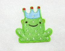 Frog Prince Cartoon Iron on Patch - Frog Prince Cartoon Applique Embroidered Iron on Patch - Size 5.6x6.0 cm