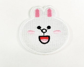 White Rabbit Iron on Patch(M2) - Rabbit Cartoon Applique Embroidered Iron on Patch - Size 7.0x4.7 cm