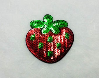 Strawberry Sequin Iron on Patch (M) - Sequin Strawberry,Glitter Applique Iron on Patch - Size 6.1x6.5 cm