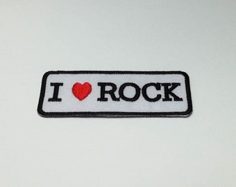 I Love Rock Iron on  Patch(M1) - Text - Words - Message Iron On Patch Embroidered Applique Size 7.4x 2.6 cm