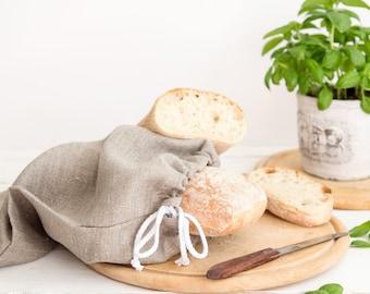 Natural Linen Bread Bag - Drawstring bag - Natural Linen Bag - Storage Bag
