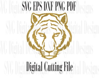 Tiger Svg Cut File -  Tiger head Design Cutting file for Silhouette & Cricut - Svg Dxf Eps - Instant Download Tiger Vector