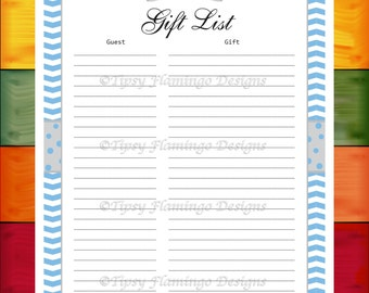 Baby Shower, Gift List, Baby, Gift List Record, Blue and White, Gray Bow Tie with Blue Poka Dots, Printable, Instant Download T778A