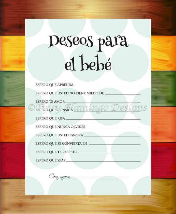 Baby Shower Games In Spanish: Spanish Baby Shower Game Wishes For The Baby Shower Game