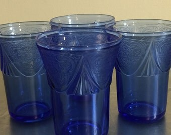 Vintage Hazel Atlas Royal Lace Glasses | Ritz Blue | Small Glass Tumblers | Rare Pattern  | Pressed Bottom | Cobalt Blue | American Made |