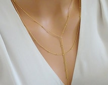 Double Lariat Necklace 14K gold fill, Double Dew drops Lariat Necklace, Y Lariat Necklace, tassel lariat necklace, 2 Separate necklaces