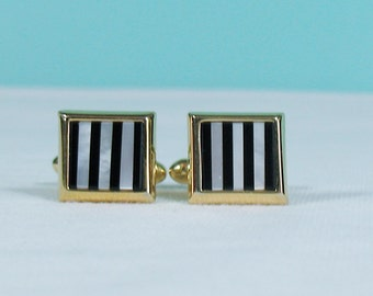 Vintage Mother of Pearl and Black Glass Striped Inlay Cufflinks