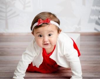 Christmas Headband | Red Glitter Bow Headband | Baby Girl Headband
