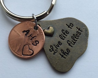 Graduation gift, stamped penny Live Life To The Fullest. For girl graduate, hand stamped for graduate, High School graduate college graduate
