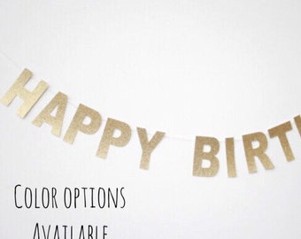 Gold Glitter Happy Birthday Banner-Birthday-Banner-Party Decorations