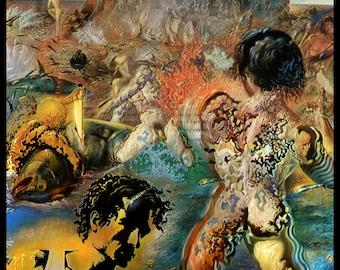"Salvador Dali Print, ""Tuna Fishing - (Detail)"", Salvador, Dali, Surrealism, Dali Painting,  Circa 1966, Vintage Book Plate Print, Dali Art"