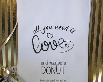 Personalized Donut Bags (24 BAGS)  - Wedding Doughnut Bags - Wedding Donut Bar - Wedding Reception Supplies - Need is Love D03-P16