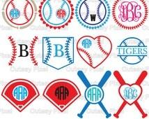 13 Baseball Monogram Frames Svg cutting file, baseball SVG, DXF, Cricut Design Space, Silhouette Studio,Digital Cut Files