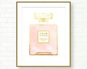 Coco Chanel Gold Perfume Print, Coco Mademoiselle, Fashion Art, French Decor, Gold Foil Print, Vanity Decor, French Wall Art, Perfume Poster