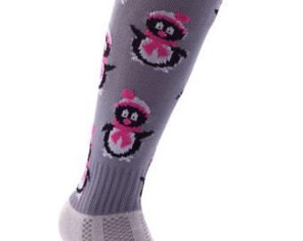Samson® Winter Penguin Christmas Socks Thick Knee High Ski Snow Stockings Festive Seasonal Winter Thermal Cosy Warm