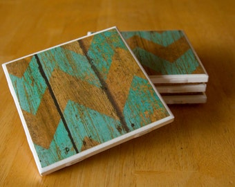 Set of 4 ceramic tile coasters