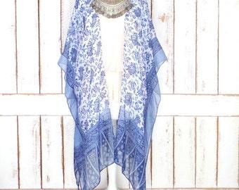 Sheer gauzy blue/white floral tribal print handmade kimono cardigan/tassel/fringe cover up/lightweight blouse/lingerie/gypsy festival top