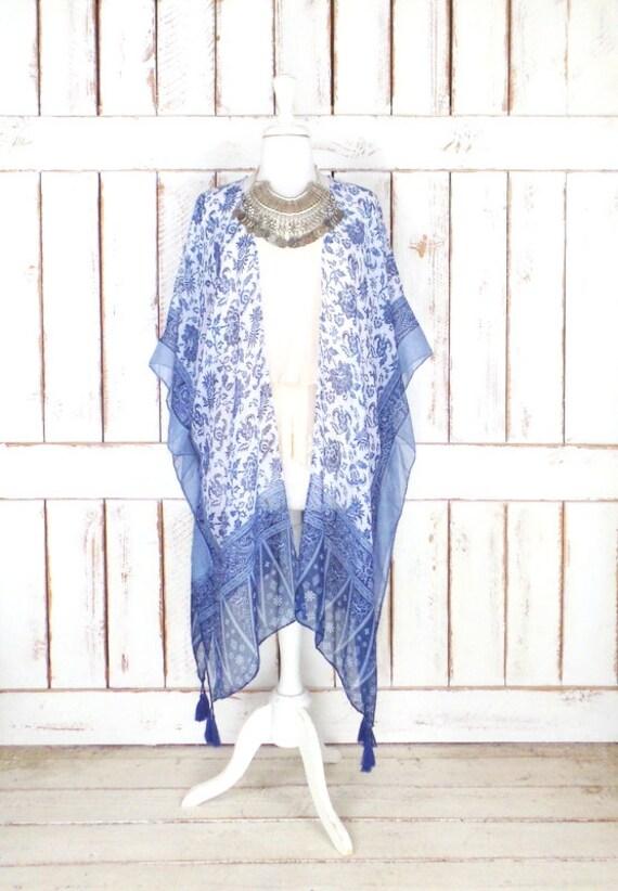 Sheer gauzy blue/white floral tribal print handmade kimono