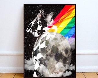"Freddie Mercury print, Queen print, Freddie Mercury pop art, surreal collage art, mixed media collage art, rainbow flag art - ""Holy Freddie"""