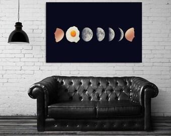 "Moon phases print, food art print, surreal collage art, moon print, moon phases wall art, home decor wall art, eggs art print ""Eggs phases""."