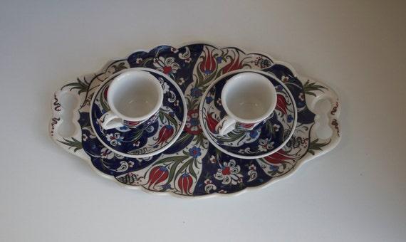 Turkish Coffee Cups, Coffee Set, Espresso Cup Set, Cup Set of Two, Handmade Coffee serving Set, Iznik Design Ceramics, Ceramic Tray, Coffee