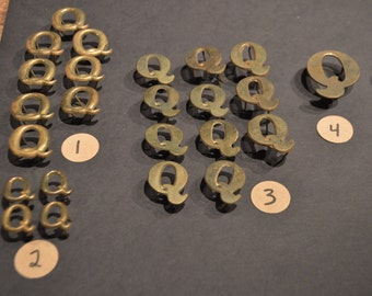 Vintage Solid Brass and Nickel Harness Letters - Q