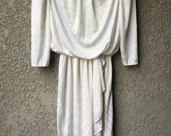 White 80's midi dress